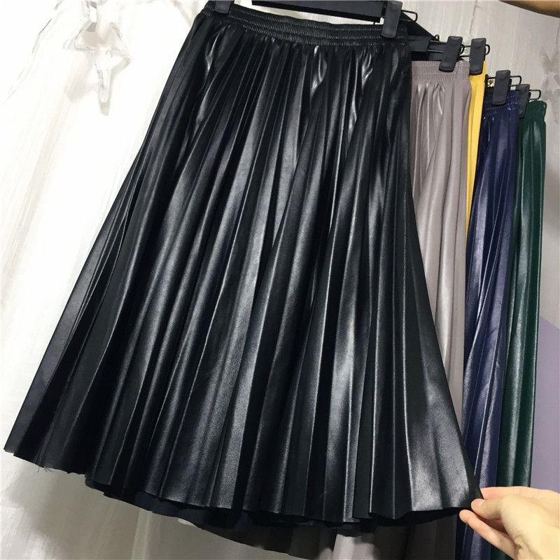 2018 11 11 PU Accordion Pleated Skirt Autumn & Winter New Style Leather Skirt High Waist Faldas Largas Elegantes Free Shipping 12