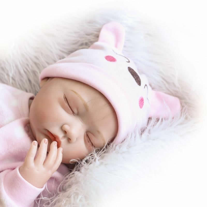 Lovely Sleeping Reborn Girl Baby Doll 22 Inch Newborn Silicone Babies Brinquedo With Pink Rabbit Romper Kids Birthday Xmas Gift can sit and lie 22 inch reborn baby doll realistic lifelike silicone newborn babies with pink dress kids birthday christmas gift
