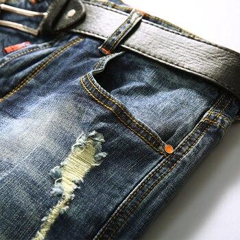 AIRGRACIAS Shorts Men Ripped Short Jeans Straight Retro Shorts Jean Bermuda Male Denim Brand Clothing Plus Size 28-40 1