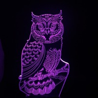 New 2018 Owl Animal 3D Lampara Night USB LED 7 Color Change RC Christmas Kids Toy