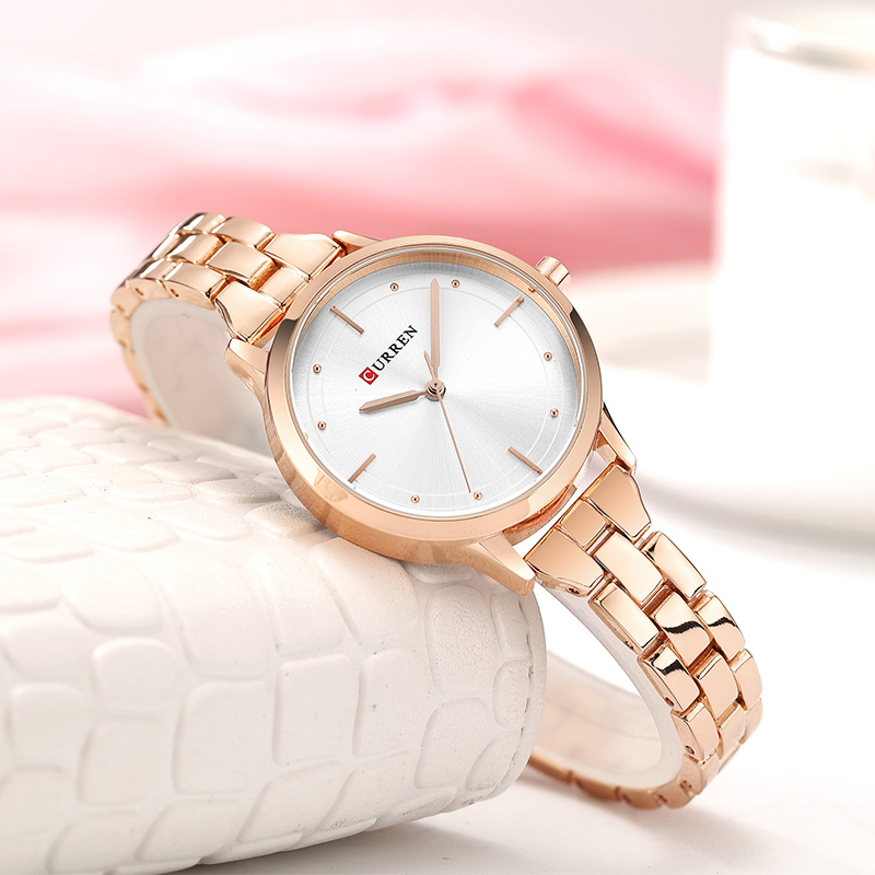 CURREN Simple Unique Wrist Watches For Women Stainless Steel Rose Gold Women Watches Top Brand Luxury Ladies Watches Women 2019(China)