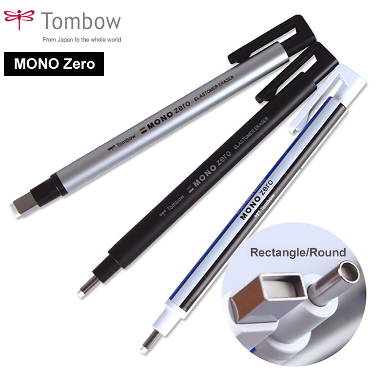 Tombow MONO Zero Eraser Flat / Super Fine Rubber Tip Pen Type Professional High Precision Pencil Eraser For Manga Highlight