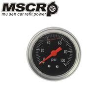 Черный/белый регулятор давления топлива Манометр 0-100 фунтов/кв. дюйм/бар жидкость заливка Хром топлива/масла манометр