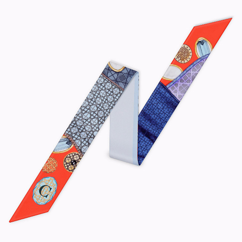 Fashion Bag Skinny Constellation   Scarf   For Women Head   Scarf   Brand Small Tie C 26 Letters   Scarves   Fashion Print Silk   Scarf     Wraps