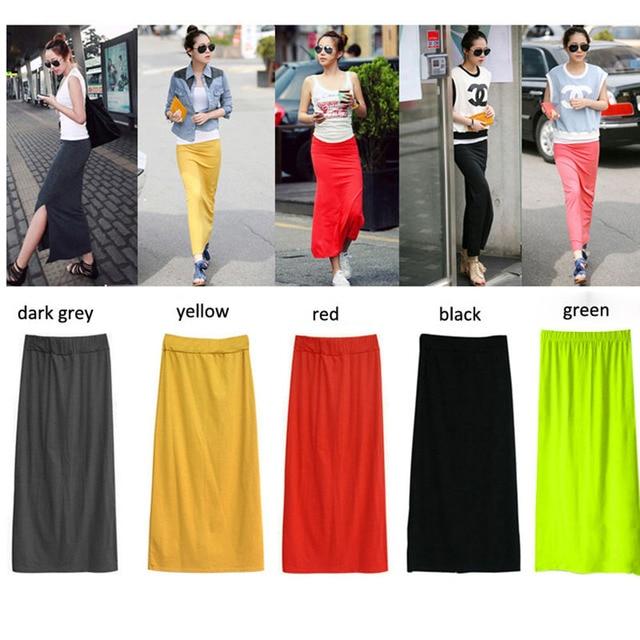 87be97efa570 Women Solid Cotton Blend Maxi Skirt Lady Thin High Waist Slim Hip Long  Pencil Skirts Full