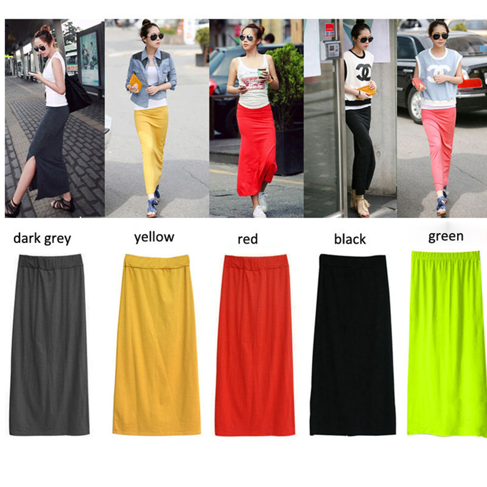 Women Solid Cotton Blend Maxi Skirt Lady Thin High Waist Slim <font><b>Hip</b></font> Long Pencil Skirts Full Length Stretchy <font><b>Sexy</b></font> For Summer Autumn image