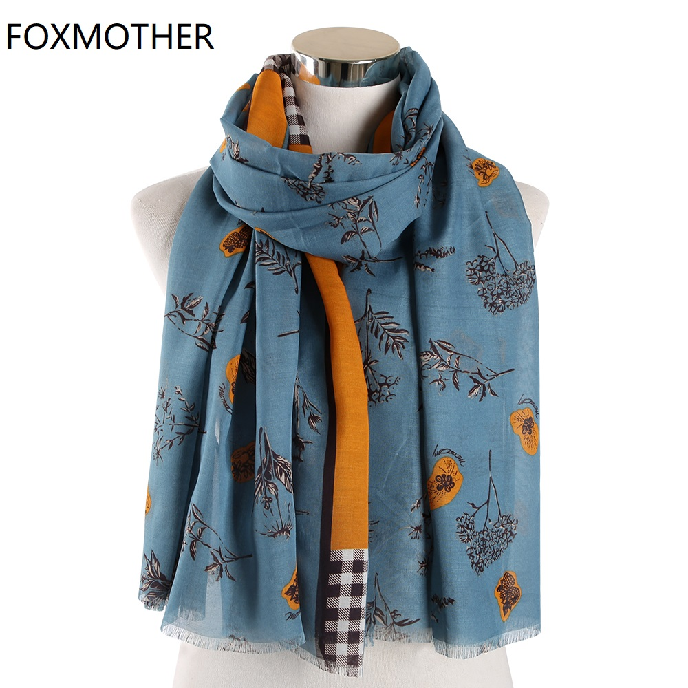 New Floral   scarves   For Women Pashmina Orange Blue Smaller Flower Plaid Tree Branches Foulard Femme Scarfs Ladies