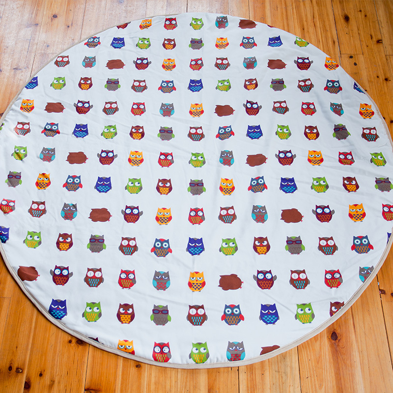 Owl Printed Canvas Kids Baby Toddler Play Game Round Mat 140cm diameter