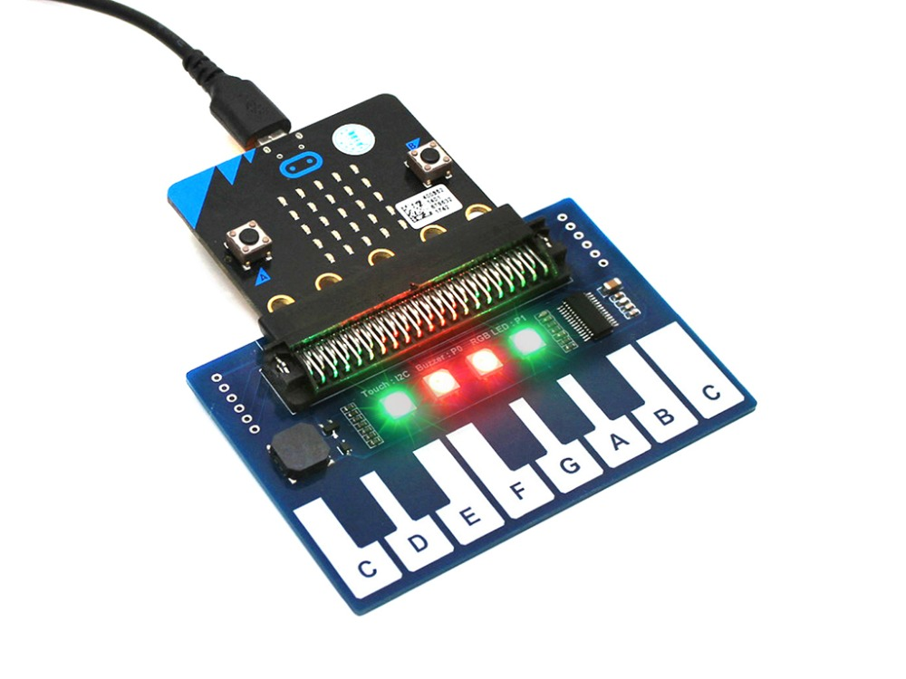 Waveshare Mini Piano Module For Micro:bit, Touch Keys To Play Music, With 4x RGB LEDs