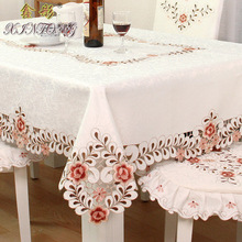 Table cloth, European style hollowed Embroidery tablecloth, tea table seat cover cushion