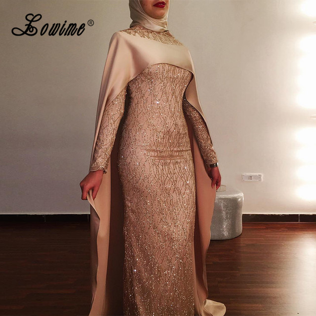 72e465b2080 Shiny Turkish Evening Dresses Hijab Long Sleeve Muslim Formal Dress With  Long Cloak Two Piece Middle East Mermaid Prom Dresses