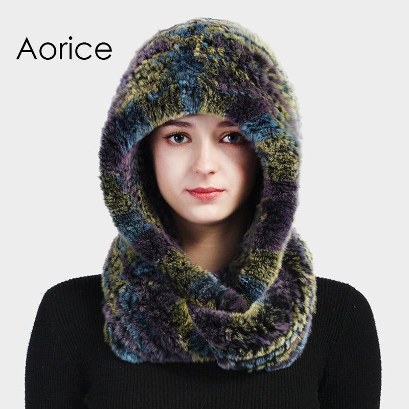 Aorice HF711 women real rabbit fut hat cap scarf 2017 new winter warm Rex fur caps hats scarves beanies видеорегистратор artway av 711 av 711