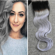 Full Shine Good Quality Lace Closure Brazilian Virgin Hair Body Wave Hair Closure Bleached Knots 1B/Silver Free Part 4*4 Inch