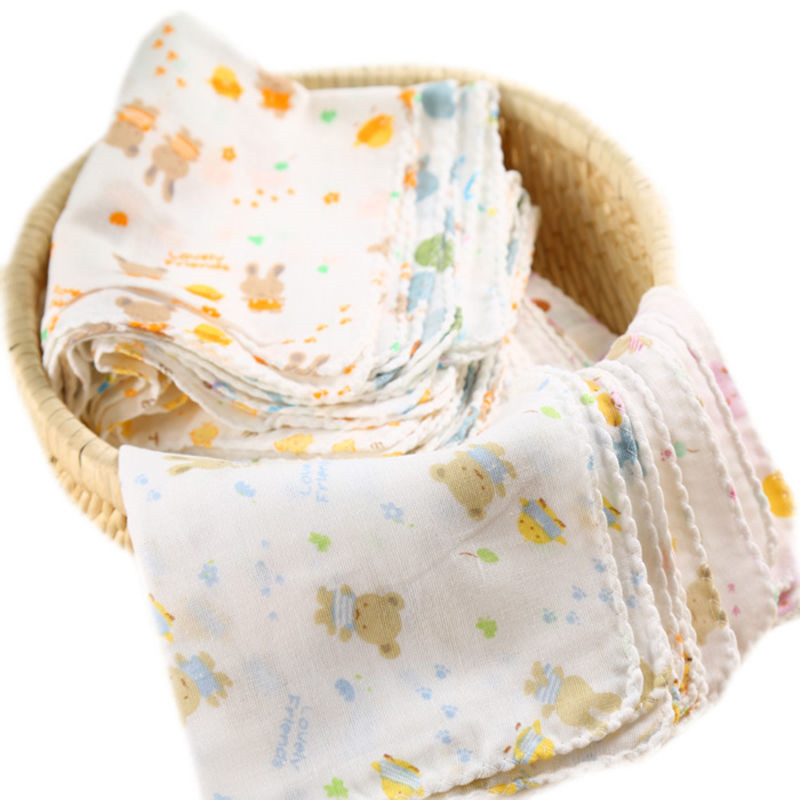 8Pcs/lot Baby Bath Towels Cotton Gauze Flower Print New Born Baby Towels Soft Water Absorption Baby Care Towel