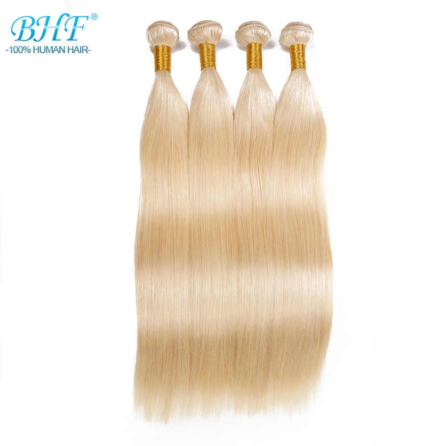 """BHF 100% insan saçından örülmüş Düz Rus Makine Yapımı Remy Doğal Saç tek Parça 100g Örgü 18 """"için 28"""" platin Sarışın Renk"""