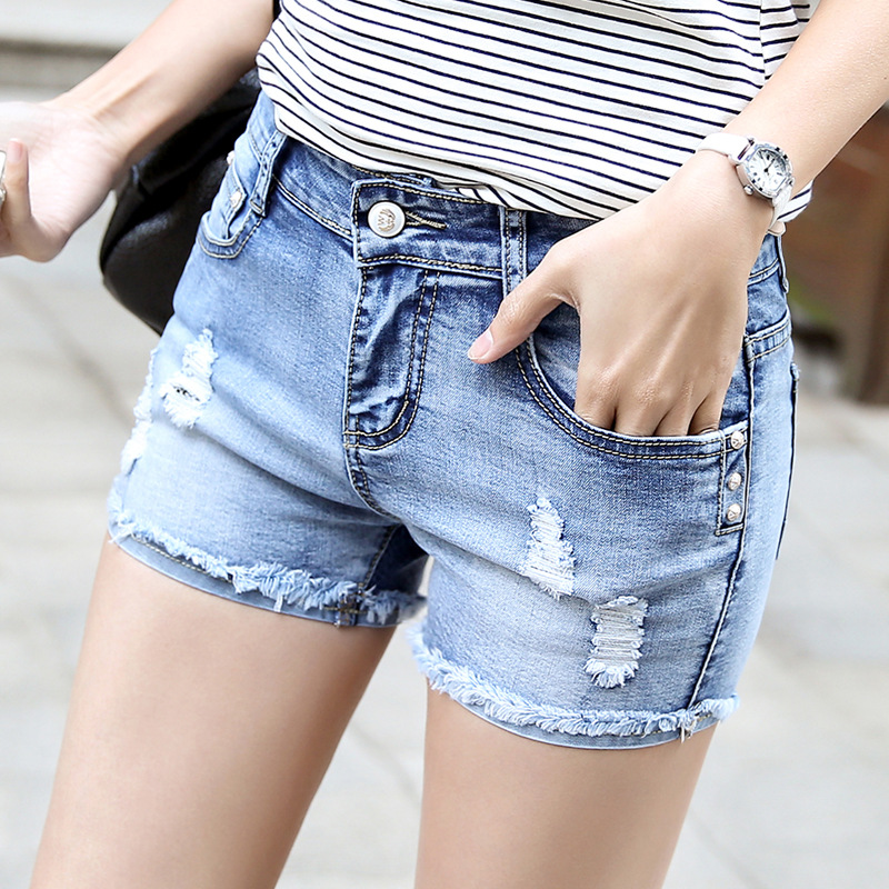 Short jean denim de taille haute