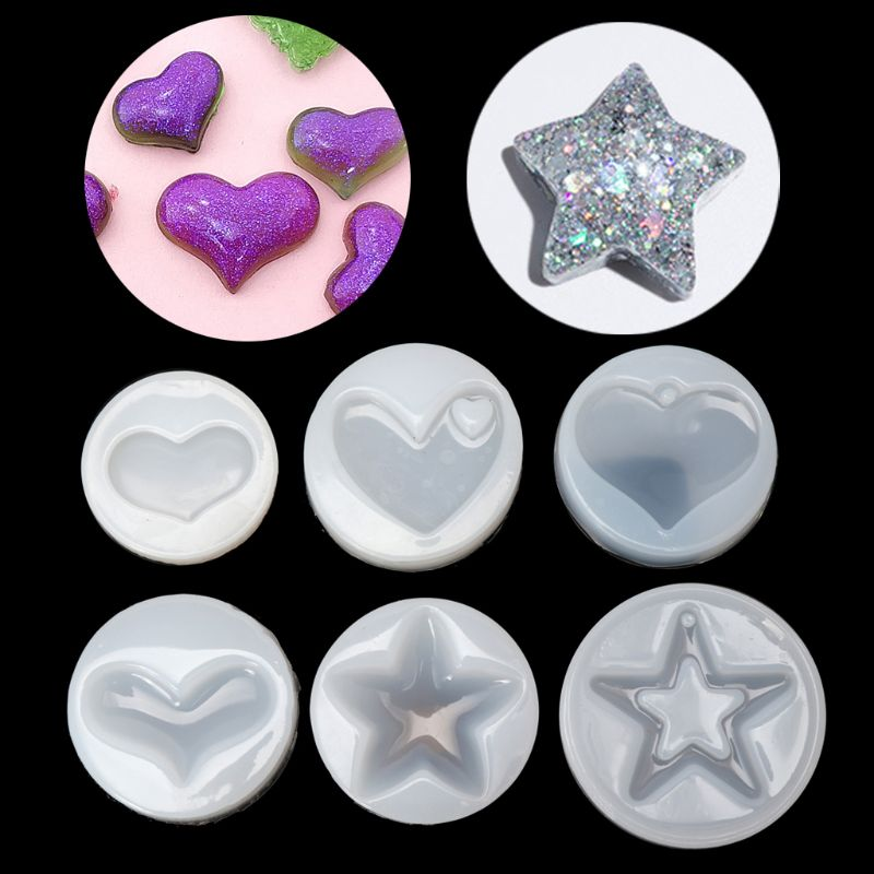 Heart Star Shape Jewelry Mold Silicone Epoxy Resin Casting Pendant Crystal Molds