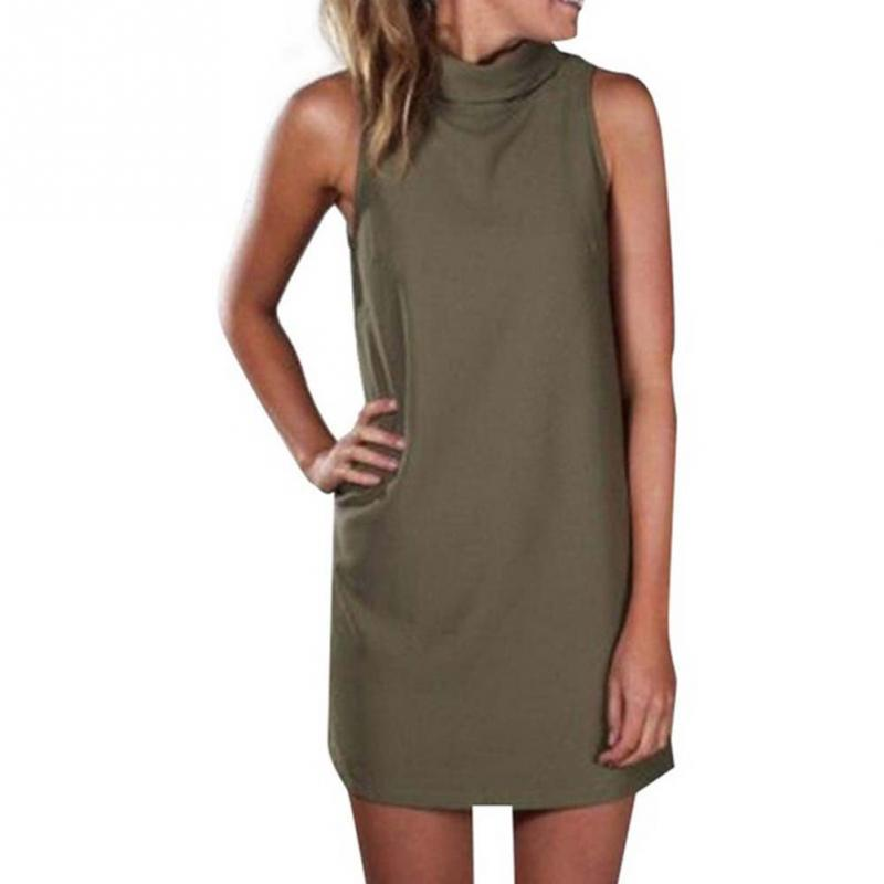 Sexy party dress elegant sleeveless turtleneck mini dress for Sleeveless dress shirt womens
