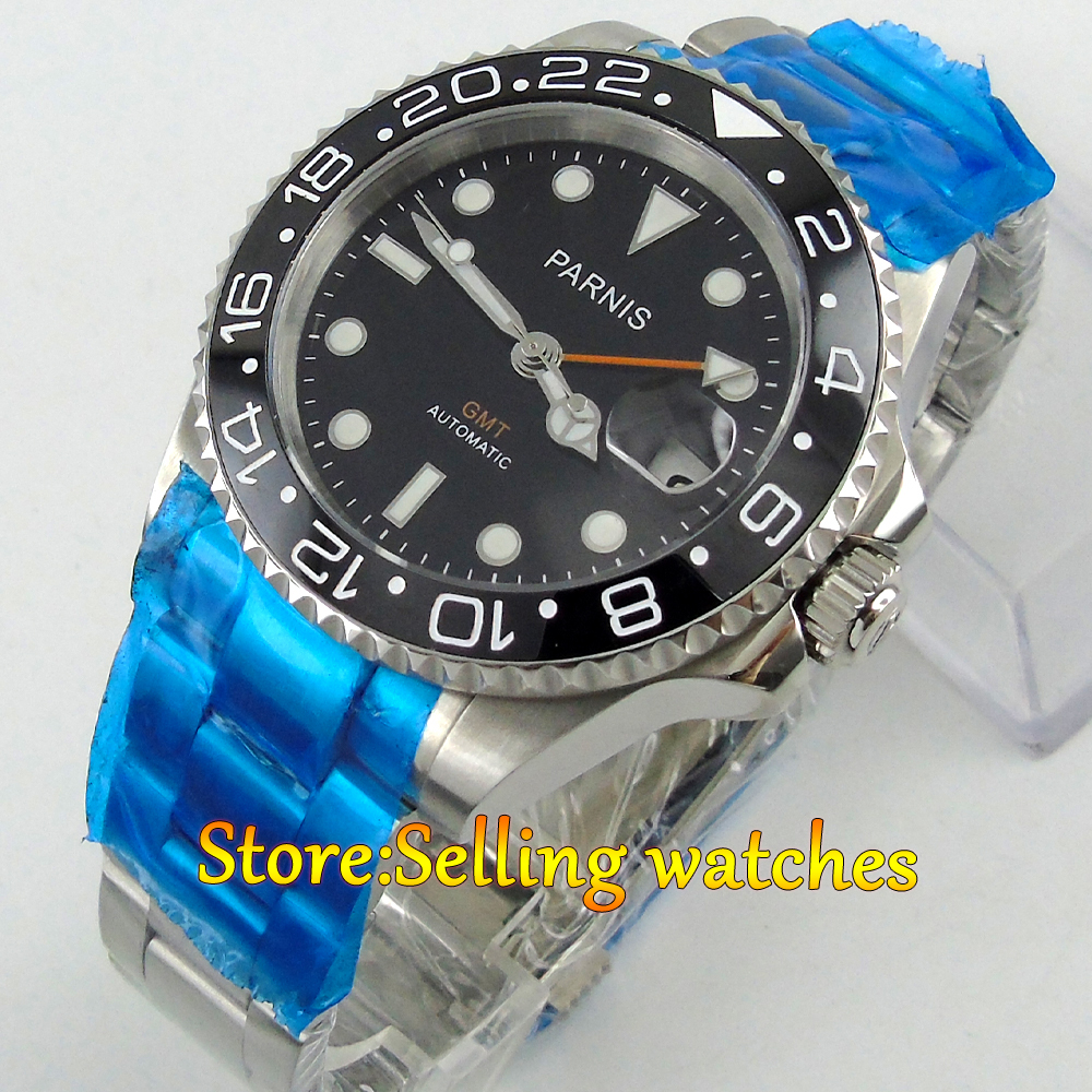 лучшая цена 40mm Parnis black dial Sapphire glass Ceramic bezel GMT automatic mens watch
