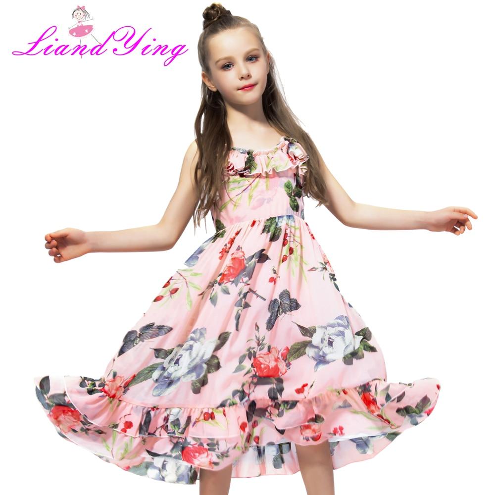 Girls Dresses 2018 New Summer Fashion Princess Clothing Falbala Chiffon Sleeveless Cute Girls Dresses For 2-12 Year ladylike chiffon falbala plain blouse