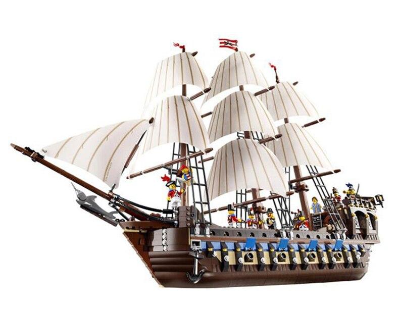LEPIN 22001 serie Piratas el modelo insignia Imperial bloques de construcción conjunto Compatible con Legoed pirata barco juguetes para niños
