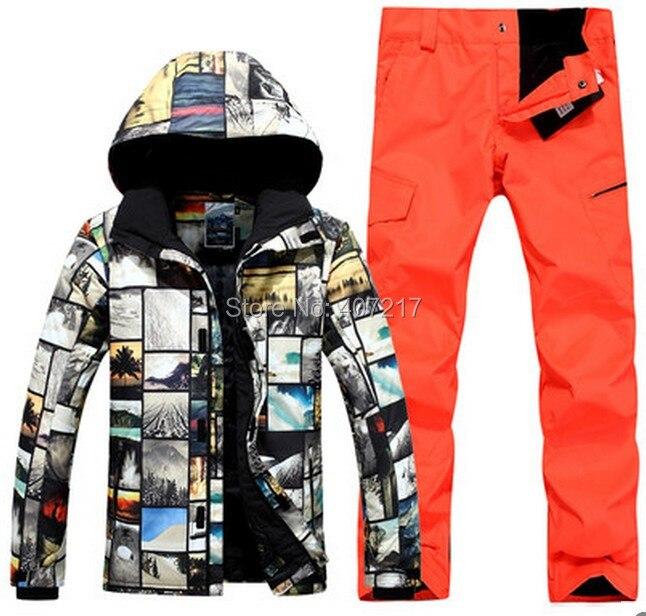 Prix pour 2017 mens top qualité ski costume hommes de snowboard de ski masculin costume veste de ski et orange rouge pantalon de ski vêtements de ski de patinage costume