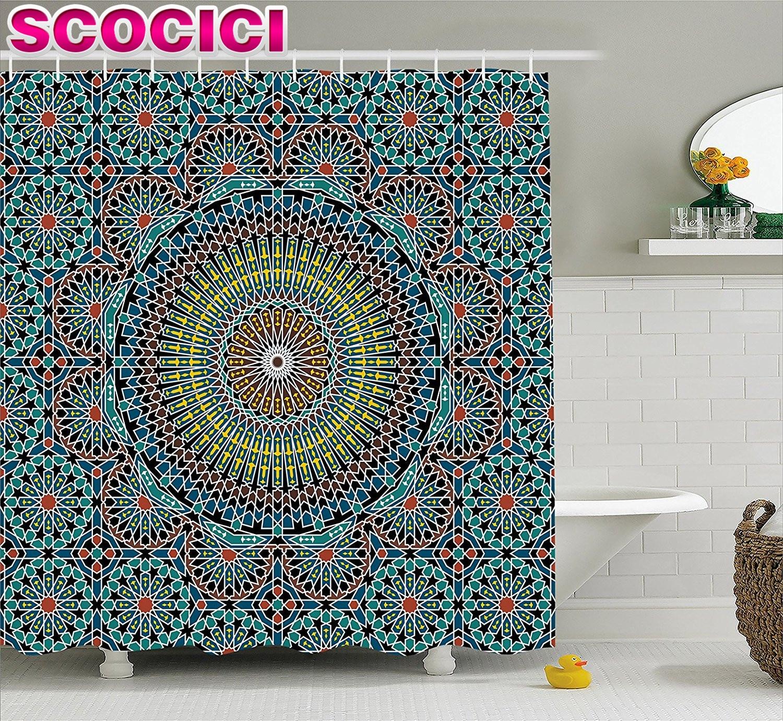 Moroccan curtains fabrics - Geometric Decor Shower Curtain Traditional Middle Eastern Moroccan Arabesque Culture Artful Design Fabric Bathroom Decor Set
