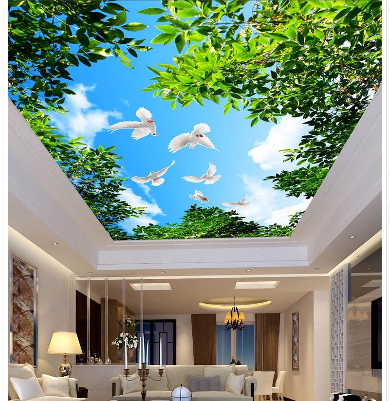 Tree Blue Sky Clouds Pigeons Living Room Ceiling Wallpaper Stereoscopic Non Woven Home Decoration