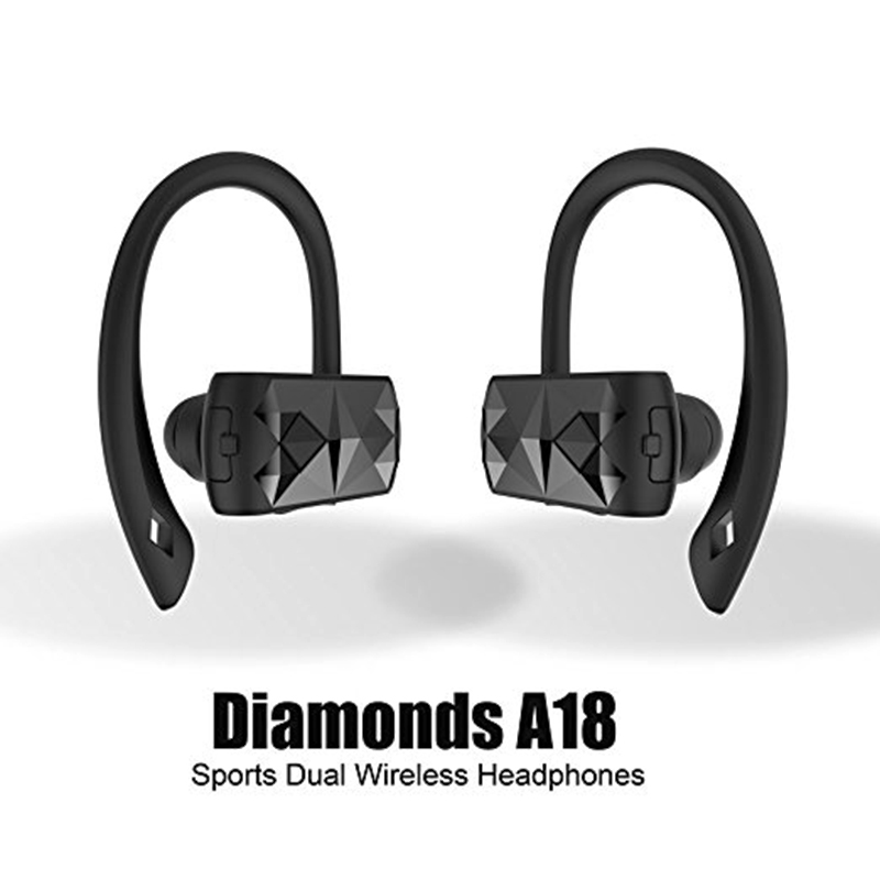 A18 Cordless Dual Bluetooth Headset Anti-slip Sports Dual Wireless Headphones For Gym Sports for  ISO and Android P2 50pcs lot original s9 bluetooth headset s9 sports headphones wireless headset for iphone android iso