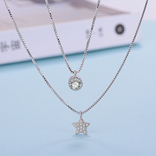 Hot Sale Wholesale Fashion 2017 New Shiny Zircon Star Design 925 Sterling Silver Pendant Necklaces for Women Girls Jewelry Gift banbu new arrival 925 sterling silver necklaces jewelry polishing process plate gold necklace women hot sale best gift for girls