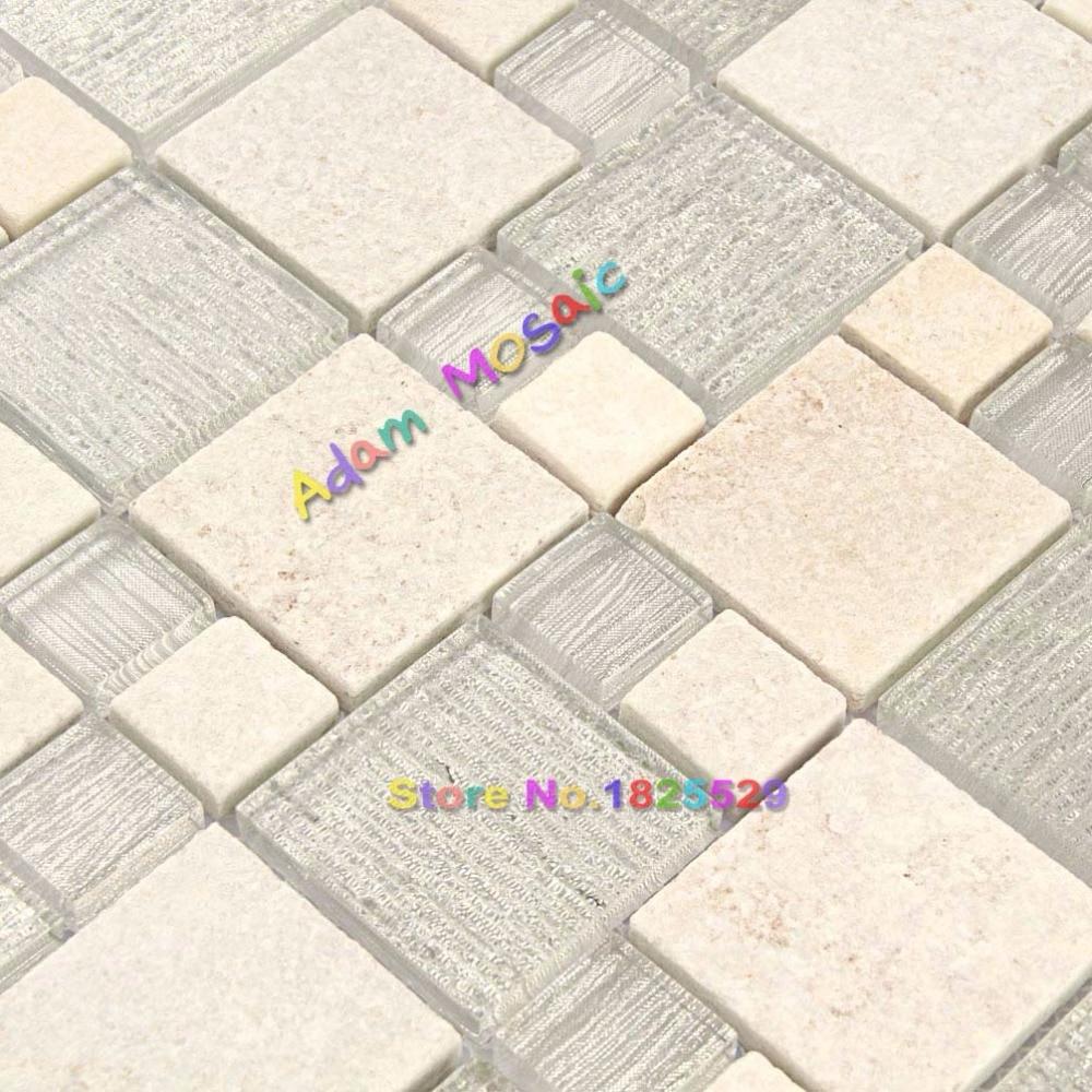 Baldosas de piedra vidrio blanco azulejos de mosaico backsplash ...
