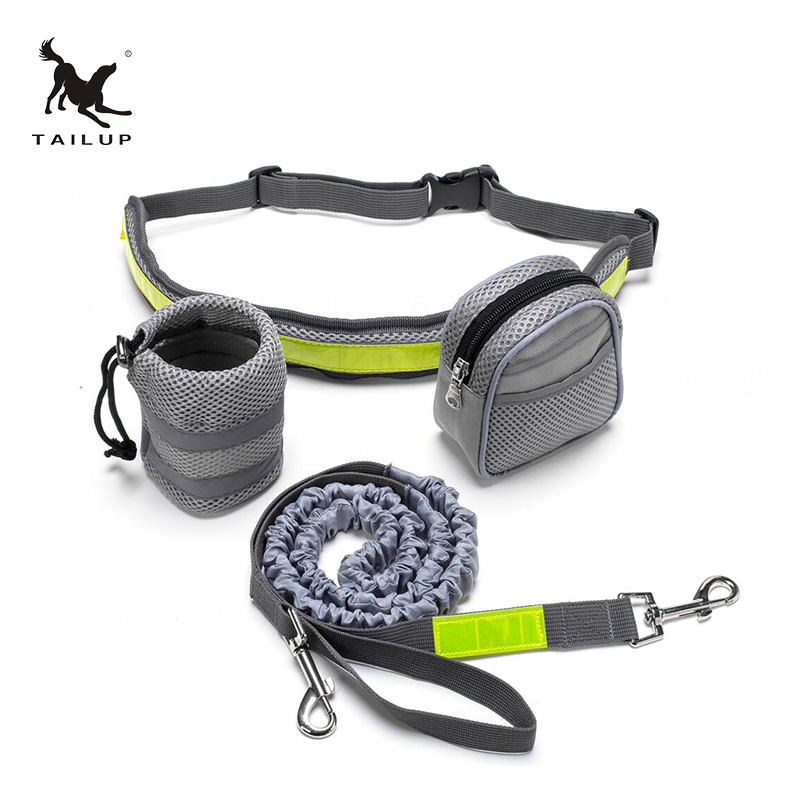TAILUP Dog Tangan Bebas Leash Berjalan Running Jogging Puppy Dog Leashes Lead Collars Laras Dog Lead Leash Reflective Bag