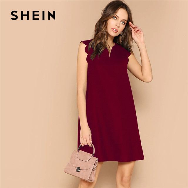 SHEIN Lady Solid V-Neck Scallop Trim Trapeze Mini Dress Women Clothes 2019 Casual Sleeveless Loose Tank Summer Dress 3