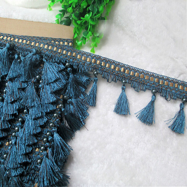 10CM Width Braided Tassel Fringe Bead Lace Trimmings For DIY Sewing Curtain Decortion 11Meters/lot