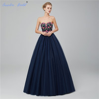 Sapphire Bridal 2018 Custom Made Sweetheart Tulle Floor Length Beads Ball Gown Navy Red Quinceanera Dress Prom Dresses Hot Sale
