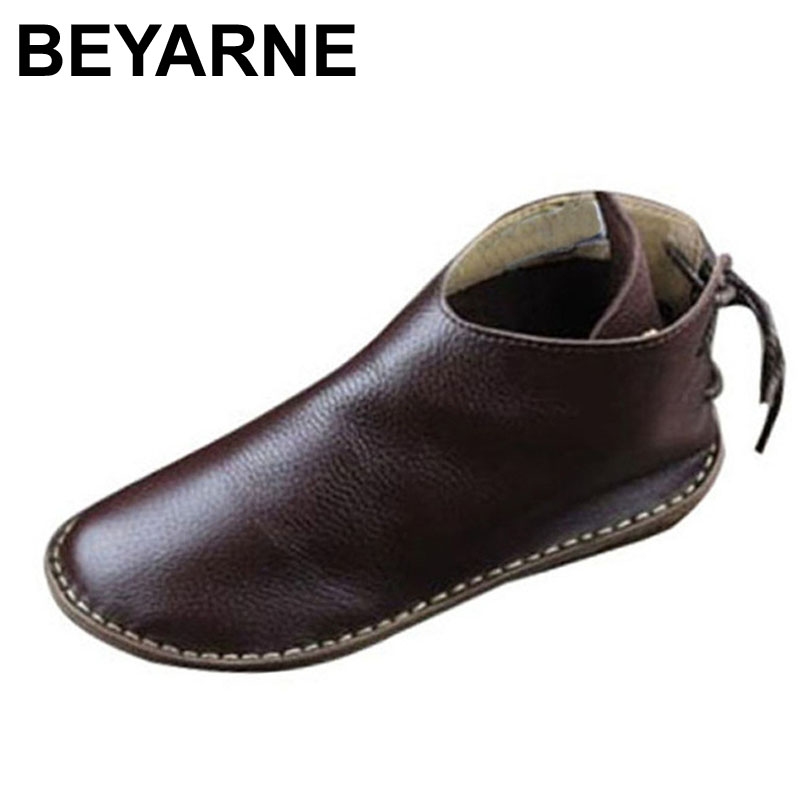 BEYARNE Women's Boots Genuine Leather Ankle Boots Round toe lace up Woman Casual Shoes with/without fur Autumn Winter Boots odetina fashion genuine leather ankle boots flat woman round toe platform lace up boots autumn winter casual shoes big size 43