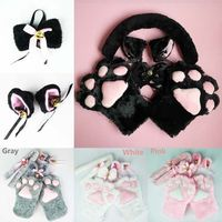 Cute Anime Cosplay Costume Cat Ears Plush Paw Claw Gloves Tail Bow Tie 1 Set Women