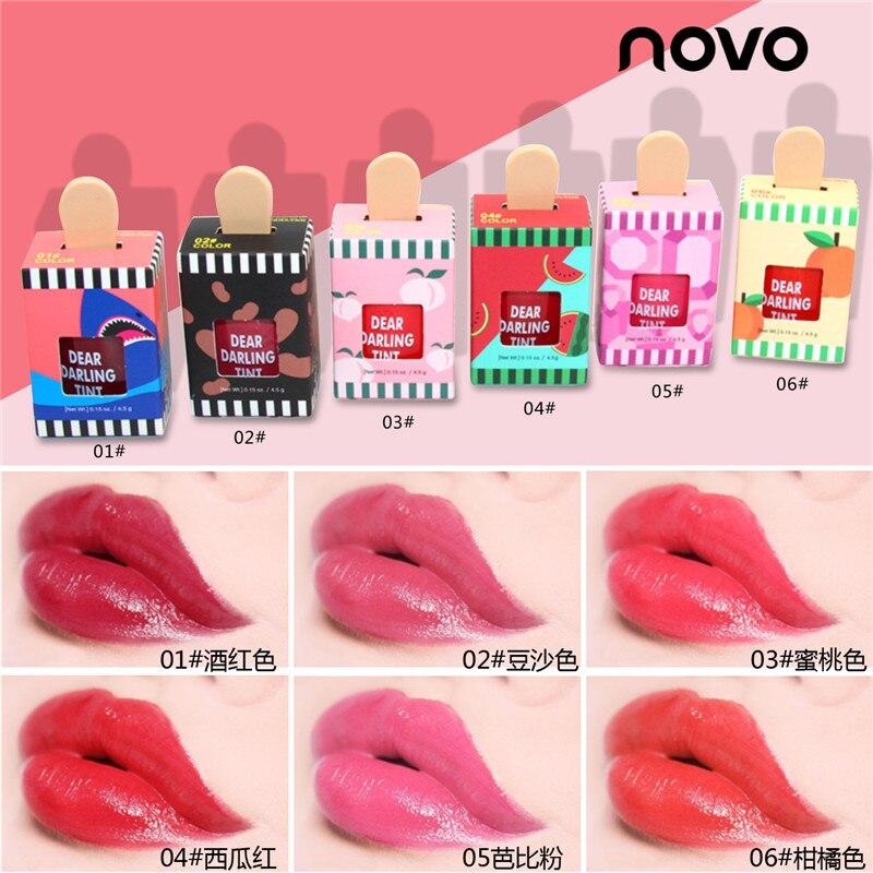 Estilo coreano 6 pçs/set bonito sorvete lábio matiz maquiagem vermelho líquido fosco batom pigmento nude à prova dwaterproof água lipgloss cosméticos