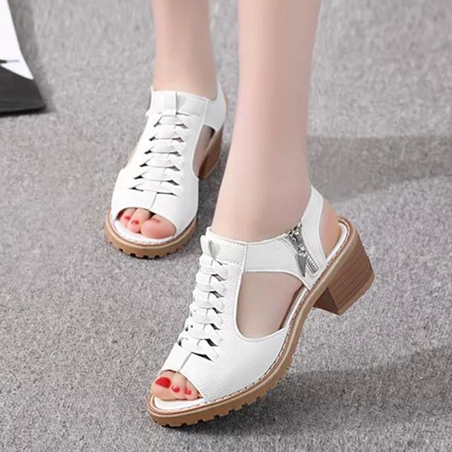b9a458de18f 2018 Women Vintage Zip Peep Toe Mother Shoes Ladies Chunky Heel Clogs  Cross-tied Fashion Elegant Style Summer Slingback Sandals