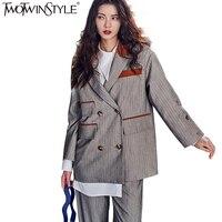 TWOTWINSTYLE Mode Rayé Blazer Tailleur-Pantalon Pantalon de Costumes pour les Femmes Costume Femme D'affaires Costumes Casual Veste Pantalon Ensemble Nouveau