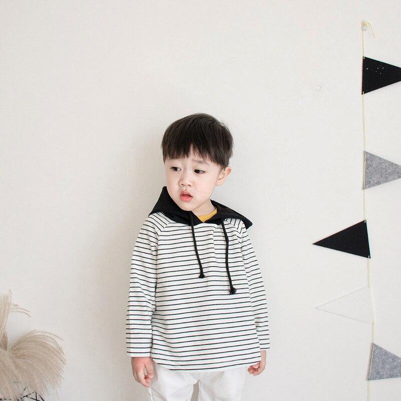 Boy Hoodies T-shirt Cotton Childrens clothing spring autumn long-sleeved striped Sweatshirts cute Newborn baby clothes kid top