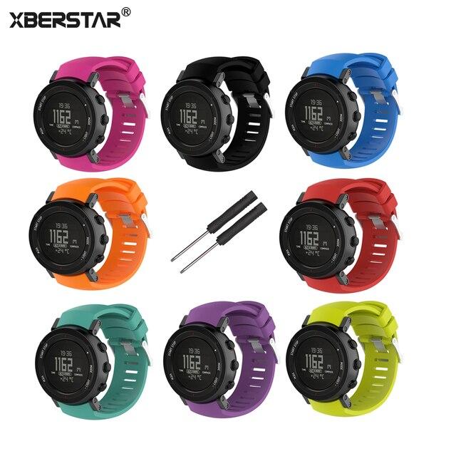69e3b5214e3 XBERSTAR Poliesportiva GPS Relógio Pulseira Strap para SUUNTO CORE ALU PRETO  Substituição de Silicone Pulso Banda