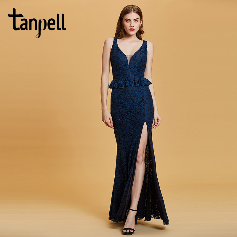 412f57735a357e7 Tanpell вечернее платье с разрезом спереди темно-васильковое без рукавов  длиной до пола платье русалки женское кружевное длинное вечернее пла.
