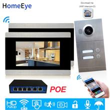 720 P WiFi IP wideo domofon inteligentny wideo telefon drzwi 2-apartamenty domu systemu kontroli dostępu do drzwi iOS aplikacja dla systemu Android zdalnego odblokowania tanie tanio homeeye Głośnomówiący Przewodowy Cmos Kolorowy Ekran Dotykowy luminium Alloy Do Montażu na ścianie P214-2S1M710S2-87POE