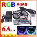 LED Strip 5050 RGB Flexible LED Light 5M Ribbon 300leds SMD + 44 Keys IR Remote Controller + 12V 6A Power Adapter Free Shipping