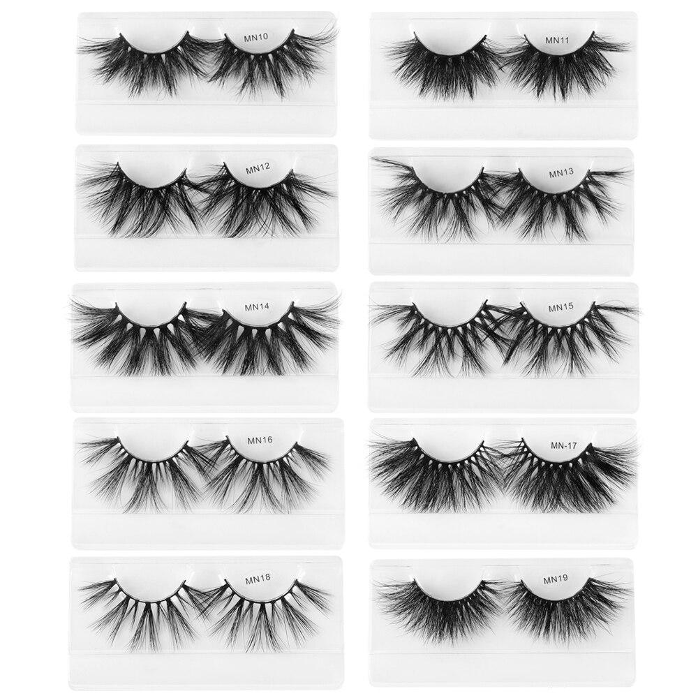 1 Pair 27MM Lashes 3D Mink Hair False Eyelashes Long Wispies Multilayers Fluffy Eyelashes Cruelty-free Handmade 30mm Lashes