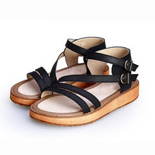 TIMETANG  Woman Sandals Shoes 2018 Summer Style Wedges Flat Sandals Women Fashion Slippers Rome Platform Genuine Leather