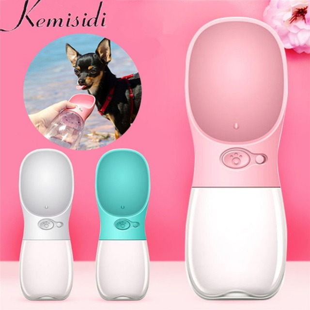 KEMISIDI 350ML Portable Pet Dog Water Bottle Travel Puppy Cat Drinking Bowl Outdoor Outside Pet Water Dispenser Feeder Teddy