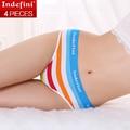 Underwear briefs de las mujeres algodón elástico bragas de la raya multicolor clásico medio cintura de señora underwear calzoncillos envío gratis