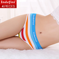 indefini Women's briefs underwear cotton stripe panties Multicolor classic middle waist Lady's underwear women underpants